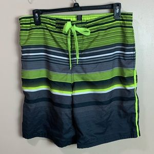 Men's Large OP Swim Trunks Black & Neon Green